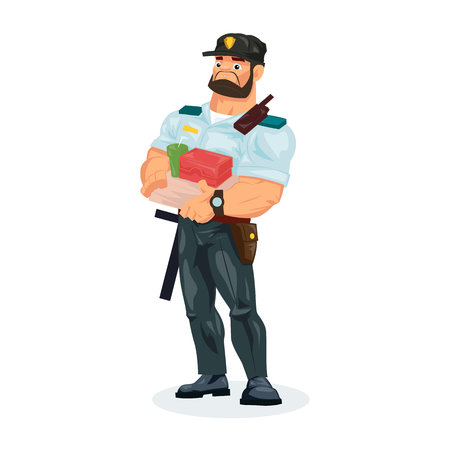 Policeman working cartoon character person in working situations. Policeman, in working clothes, in form, lunch break, food, eating and drinks from fast food. Vector illustration.
