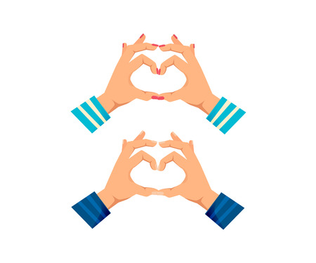 Mens and women s hands with gestures. Showing heart shape gesture. Making love sign by hands, in form of heart. Valentine s day. Signals man, woman hands. Vector illustration Illustration