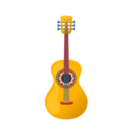Mexican guitar, traditional string musical instrument. Carnival masquerade in Mexico City, festival. Holiday, music on acoustic guitar. Carnival masquerade, festival in Mexico. Vector illustration.