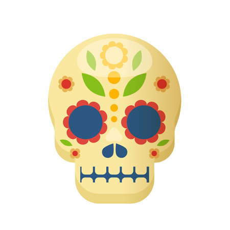 Mexican traditional colorful ethnic mask, skull elements. Carnival masquerade with mask aztec, in Mexico city, festival of street. Holiday, vacation with costumes, music. Vector illustration.  イラスト・ベクター素材