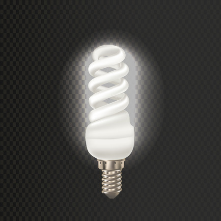 Light realistic luminescence fluorescent lamp, with different bandwidth. Economical, energy-saving light bulbs. Fluorescent lamp in aluminium body, elongated swirling shape vector illustration. Ilustração