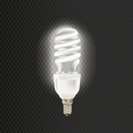 Light realistic luminescence fluorescent lamp, with different bandwidth. Economical, energy-saving light bulbs. Fluorescent lamp in aluminium body, elongated swirling shape vector illustration. Illustration