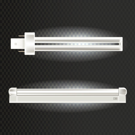 Light realistic luminescence fluorescent lamp, with different bandwidth. Economical, energy-saving light bulbs. Fluorescent, neon halogen lamps are elongated, in aluminium body. Ilustrace