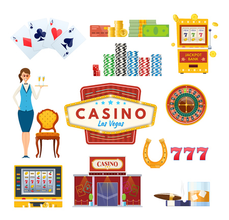 Casino Las Vegas concept. Success, luck, happiness. Gambling, poker, money. 일러스트