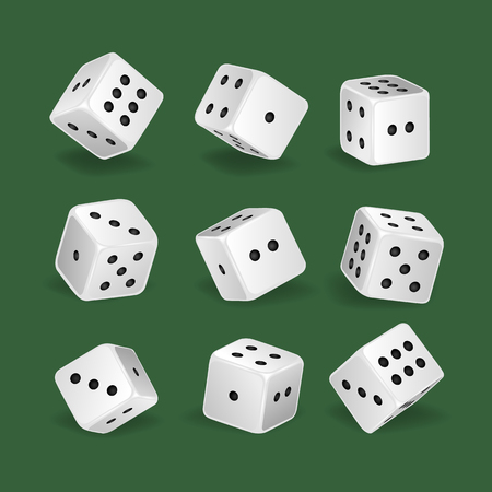 Set realistic white dice. Gambling, casino, dice. Hobbies, professional occupations.