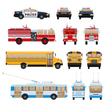 Set of urban transport. City cars, vehicles transport: fire service, school bus machine, rescue service, police.