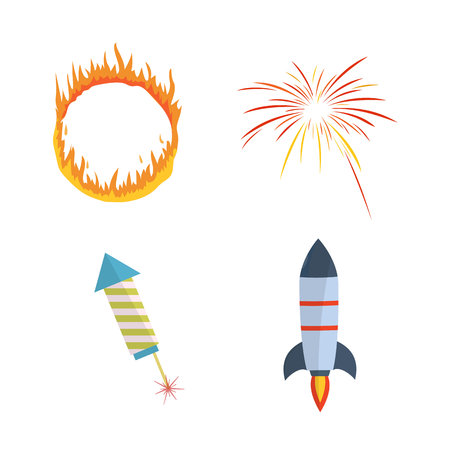 Colorful festive lights, fireworks and flying rockets in the night sky.