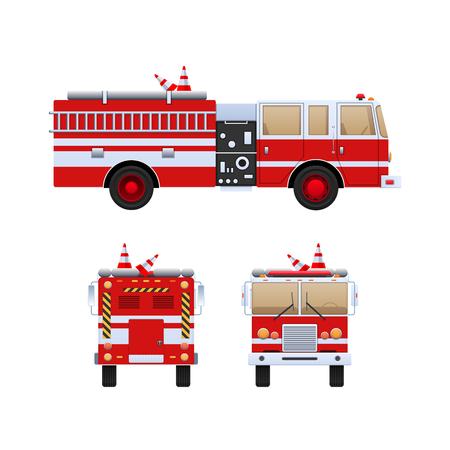 Pompiers. Camion rouge à rayures blanches éliminant les incendies. Banque d'images - 93324165
