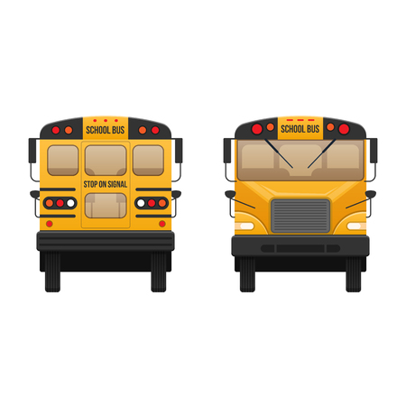 Yellow classic school children bus. Modern education and traveling with children. Illustration