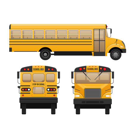 De bus van gele klassieke schoolkinderen. Modern onderwijs. Reizen met kinderen.
