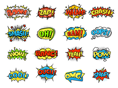 Collection of bright, colorful, multi-colored speech bubbles, with text and decorative texture. Template of clouds of different forms with messages. Vector illustration isolated. Banco de Imagens - 93323827