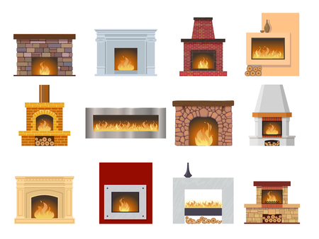 Set of classic fireplace made of colored bricks, natural stone, gypsum, with a natural stone inside, bright burning flame. Comfortable, cozy, warm, home fireplace. Warm winter. Vector illustration.
