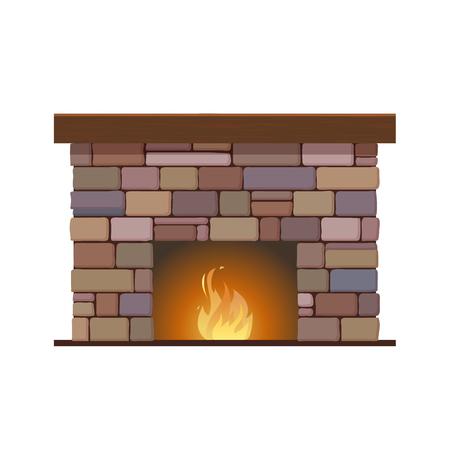 Cheminée classique faite de briques colorées, avec une pierre naturelle à l'intérieur et une flamme brûlante. Confortable, confortable, chaleureux, foyer. Bon feu de Noël intérieur de Noël. Illustration vectorielle Banque d'images - 93323880
