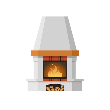 Classic fireplace made of natural stone and gypsum, with a bright burning flame. Comfortable, cozy, warm, home fireplace. Warm winter christmas interior bonfire. Vector illustration. Illustration