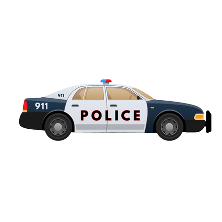 Police car. Patrol car, vehicle with emergency lights system, sirens. Illustration