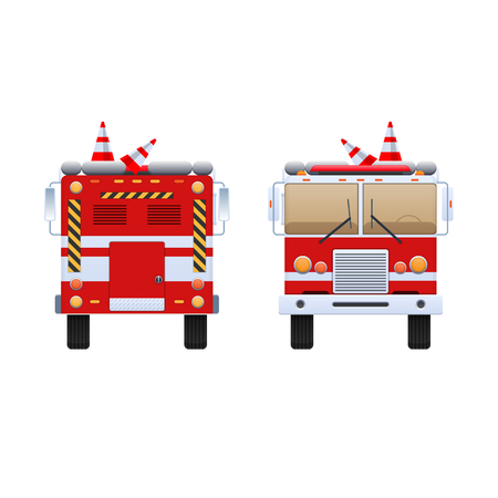 Fire Department. Red truck with white stripes, eliminating fire and fire, help in putting out. The car is a fire truck. Front and rear view. Vector illustration in flat style. Banque d'images - 93324074