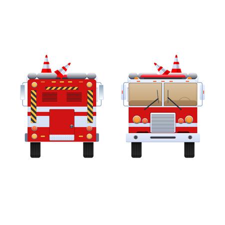 Pompiers. Camion rouge avec des rayures blanches, éliminant le feu et le feu, aider à éteindre. La voiture est un camion de pompiers. Vue avant et arrière Illustration vectorielle dans un style plat Banque d'images - 93324074