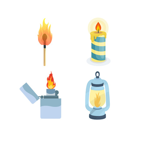 Set of flame lights. Burning match, melting candle, modern lighter, night lamp. Fire for camping, hiking, campfires. Vector illustration isolated in flat style.