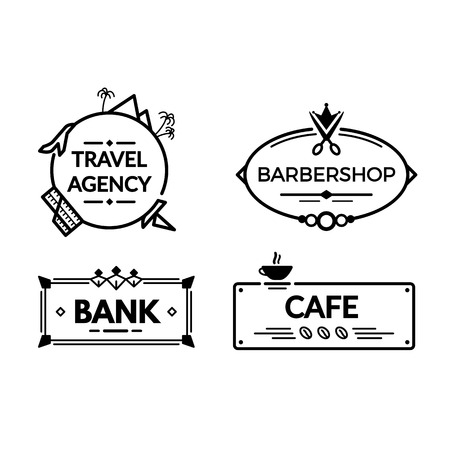 Modern vintage wrought metal signboards and plastic retro billboards products. A signboard for a real estate agency, a bank, a hair salon barbershop, cafe. Fencing, with the symbols of institutions.