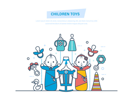 Children toys concept. Childrens toys and accessories for newborns. Kids toys, rattles, bottles, nipples, pyramids. Newborn boy and girl. Illustration thin line design.