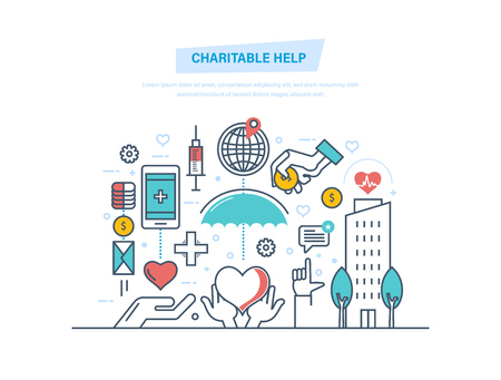 Charitable help. Charitable foundations, fundraising, help people, donation, financial giving. Charity, support, helping needy people, free medical care Money coins Illustration thin line design Vettoriali