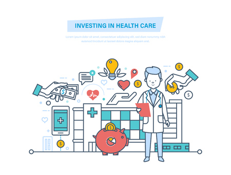 Investing in health care and modern medicine, private clinics Illustration thin line design.