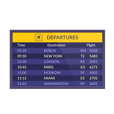 Board of departures in airport. Realistic flip airport scoreboard template. 向量圖像