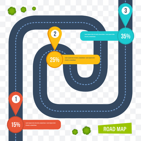 Road map with colorful marks markers, dotted line for cars. Illustration