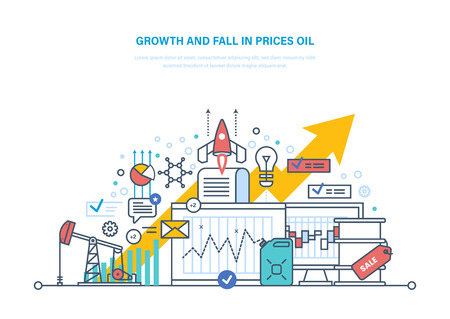 Oil crisis. Dynamics growth and fall in prices oil, sale. Illustration