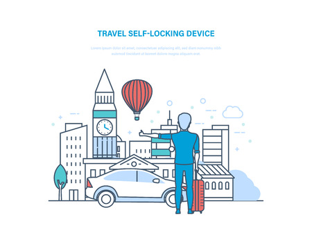 Travel self-locking device transportation on auto. Trip by car with luggage to Europe. Holding vacation, holidays, in summer, trip, travel through European countries illustration thin line design. Vettoriali