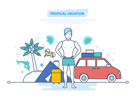 Tropical vacation. Rest in tent, camping, hiking. Traveling to sea.