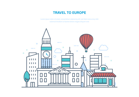 Reis naar Europa. Vakantie en vakanties houden, in de zomer in Europa, ontspannen, kennismaken met bezienswaardigheden, cultuur, gebouwen, stadsstraat, lokale buurten. Illustratie dunne lijn ontwerp.