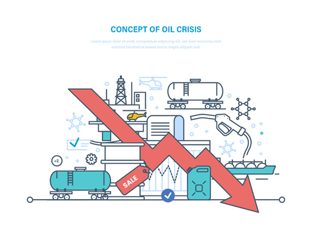 Concept of oil crisis. Dynamics rise and fall prices, sale. Stock Photo