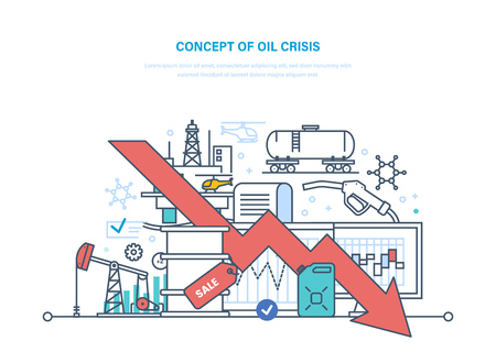 Concept of oil crisis. Dynamics rise and fall prices, sale. Illustration