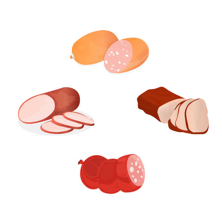 Set of sausages, fresh meat products, delicacies. Shop, grocery market. Stock Photo