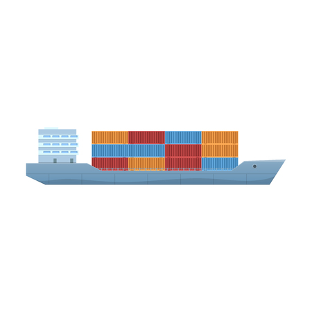 Commercial, passenger cargo ship, container vessel, with cargo on board.