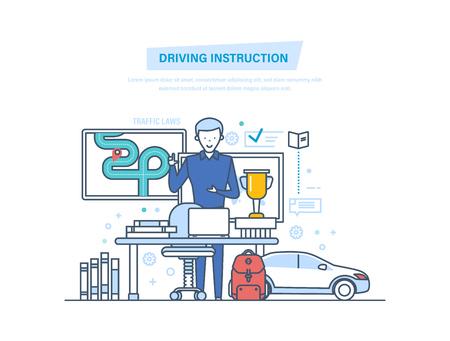Rij-instructie met de auto. Rijschool of leren autorijden. Stock Illustratie