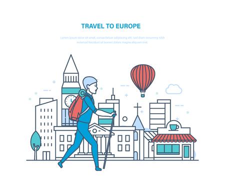 Zomerreizen naar Europa. Kennismaken met bezienswaardigheden, cultuur, gebouwen. Stock Illustratie