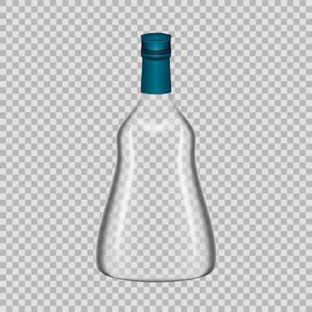 Realistic template empty glass bottle from cognac with screw cap.