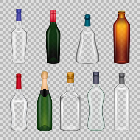 Realistic templates glasses bottles.