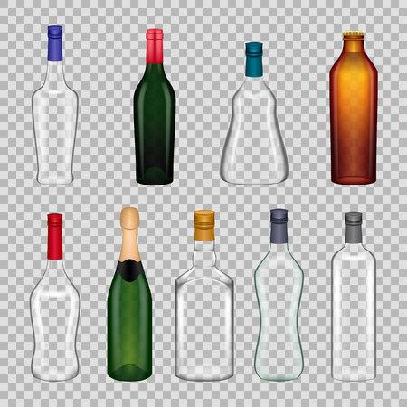 Realistic templates glasses bottles.