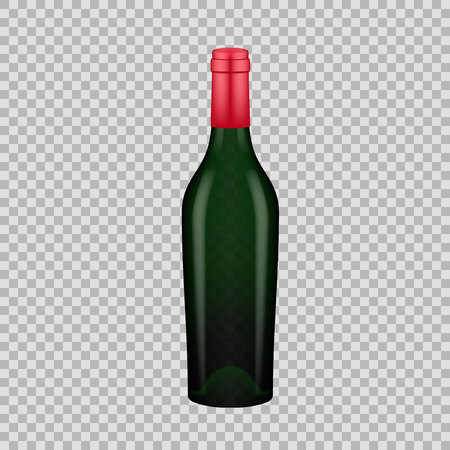 Realistic template of empty glass wine bottle with screw cap.