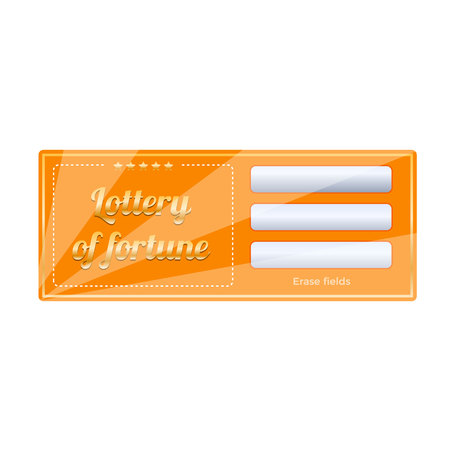 Lottery ticket for drawing money and prizes. Lottery luck, fortune. Stock Vector - 94858282