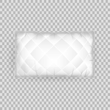 Realistic pattern template of white pillow. Empty white air pillow square shape, layout, mockup, home interior bed room, sleeping accessories, on transparent background. Vector illustration.