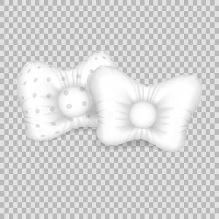 Realistic pattern template of white pillow. Empty white pillow of unusual round shape layout.