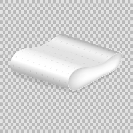 Realistic pattern template white pillow. Empty white pillow rounded form. Illustration