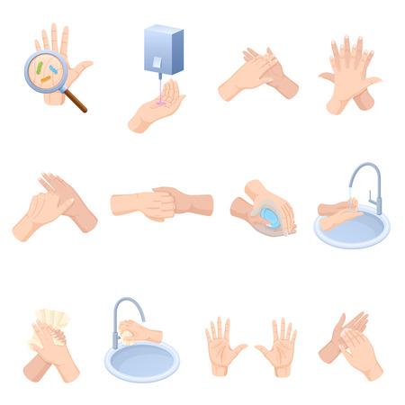 Etapy właściwej pielęgnacji rąk, mycia, profilaktyki chorób, bakterii. Ilustracje wektorowe