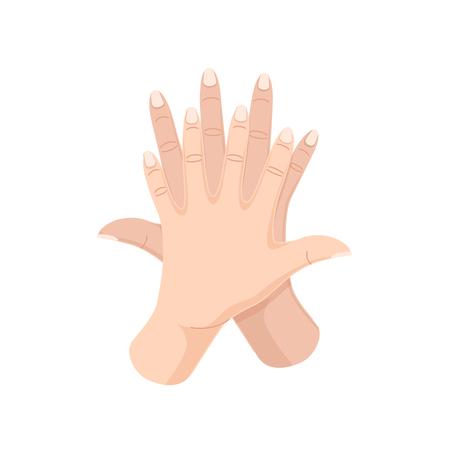 Soins appropriés des mains, lavage, entretien préventif des maladies et des bactéries, soins de santé. Mouvements corrects pour se laver les mains et les doigts avec de l?eau. Désinfection, illustration vectorielle d'hygiène sanitaire. Vecteurs