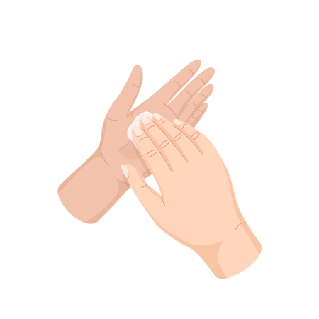 Proper care of hands, washing, preventive maintenance of bacteria. Proper movements when washing. Wipe hands and fingers towel after procedure, disinfection, sanitary hygiene vector illustration. Vectores
