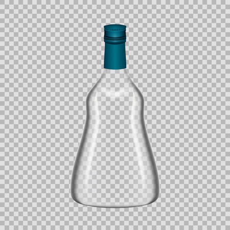 Realistic template of empty glass cognac bottle with screw cap. Template, breadboard, glass package, mockup bottles of alcoholic beverage on a transparent background. Vector illustration.